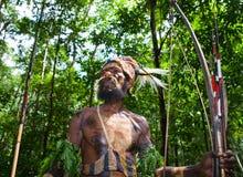 Yafi Papuan部落的战士在传统衣裳、装饰品和着色的 新几内亚海岛, 免版税库存图片