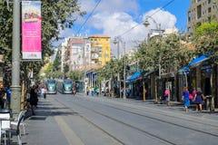 Yafo街,耶路撒冷场面  库存图片