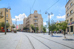 Yafo街,耶路撒冷场面  免版税库存图片