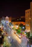 Yafo街,耶路撒冷夜场面  库存图片