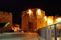 Yafo gate at night Royalty Free Stock Images