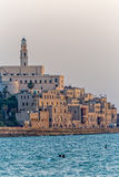 Yafo old city Tel Aviv. TEL AVIV, ISRAEL - MAY 22, 2016: View of Jaffa old city at sunset from the beach Stock Photo