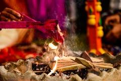 Yagya a ritual in hinduism stock image