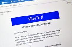 Yahoo aktualizował zawiadomienie niedawno odkrywający dane pogwałcenie Zdjęcia Stock