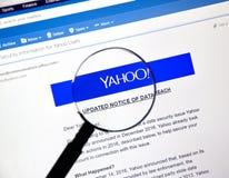 Yahoo aktualizował zawiadomienie niedawno odkrywający dane pogwałcenie Zdjęcia Royalty Free