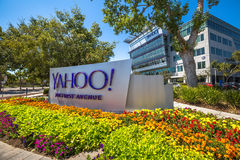 Yahoo Headquarters Silicon Valley. Sunnyvale, CA, United States - August 15, 2016: Yahoo logo outside Yahoo Headquarters. Yahoo is a multinational technology Stock Photography
