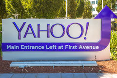 Yahoo Main Entrance. Sunnyvale, California, United States - August 15, 2016: close up of Yahoo Main Entrace Left and First Avenue at Yahoo Headquarters located royalty free stock photos