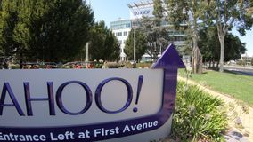 Yahoo Main Entrance. Sunnyvale, California, United States - August 12, 2018: close up of Yahoo Main Entrace Left and First Avenue at Yahoo Headquarters located stock footage