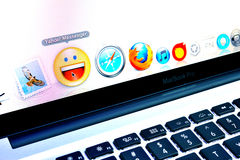 Macbook Pro screen applications Royalty Free Stock Photos