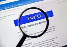 Yahoo a mis à jour l'avis de l'infraction nouvellement découverte de données Images libres de droits