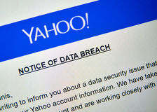 Yahoo Notice of data breach. MONTREAL, CANADA - DECEMBER 15, 2016 : Yahoo Notice of data breach picture of laptop screen Royalty Free Stock Images