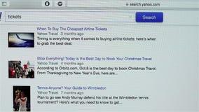 Yahoo Travel-pagina stock footage