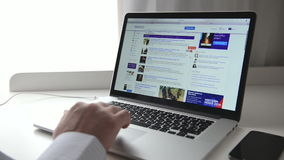 Yahoo! webpage on macbook stock footage