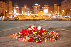 Yahrzeit candles and flowers at the Independence Square in Kiev. Ukraine Stock Photo