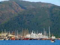 Yaht dock. Sea dock with many yahtboat. marmaris turkey Stock Image