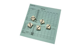 Yahtzee scorecard and dice Stock Photo