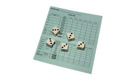 Yahtzee scorecard en dobbelt Stock Foto