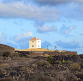 Yaiza, Lanzarote - old  farm house. With a cistern converted in a home Stock Photo