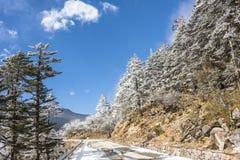 Yajiageng mountain snow-covered landscape. Yajiageng mountain cloudscape.This photo was taken in Yajiageng mountain,Ganzi Prefecture,Sichuan province,china Stock Images