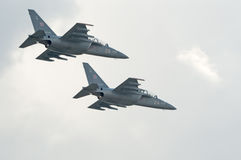 Yak-130 attack trainers fly in formation Royalty Free Stock Photography
