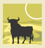 Yak. Illustration of animal in yellow background Stock Images