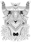Yak adult coloring page. Adult coloring page - yak with his splendid headwear Stock Photography