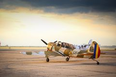 Yak 52 airplane from the team Iacarii Acrobati preparing for take-off. For a demonstration flight at Timisoara Airshow, Romania Stock Images
