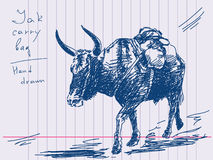 Yak with bag. Hand drawn yak with bag Vector Stock Photos