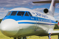 YAK-40 en la exhibición durante evento de la aviación al 80.o aniversario de DOSAAF Fotografía de archivo libre de regalías