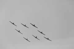 YAK-52 formation I images stock