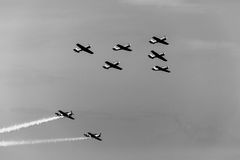 YAK-52 formation - II. The YAK-52 airplanes were flying in formation at the BIAS 2017 Stock Image