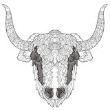 Yak head doodle with black nose. Yak head doodle with black nose on white background.Vector illustration. Sketch for tattoo or coloring book. Animal collection Stock Photo