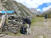 Yak Kharka village and way to Thorong La pass, Nepal Stock Photos