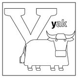 Illustrated Alphabet Letter Y And Yak Stock Vector