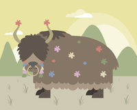 Yak in mountains Royalty Free Stock Image