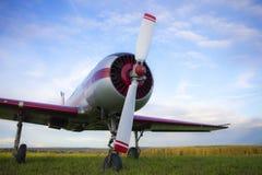 Yak 52 på bakgrunden för blå himmel Arkivbild