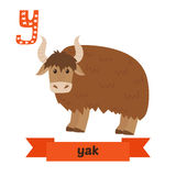 yak Y-bokstav Djurt alfabet för gulliga barn i vektor Rolig ca Royaltyfria Bilder