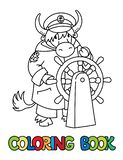 Yak yachtsman ABC coloring book. Alphabet Y. Yak yachtsman. Animal Alphabet Y for kids. Coloring picture or coloring book of funny yak captain or sailor, or royalty free illustration