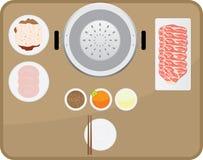 Yakinikumaaltijd met saus die drie wordt geplaatst Stock Afbeelding