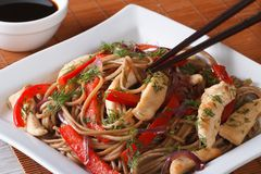 Yakisoba with chicken and vegetables and teriyaki sauce. Royalty Free Stock Image