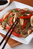 Yakisoba with chicken, vegetables and teriyaki sauce. Vertical Royalty Free Stock Images