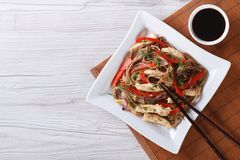 Yakisoba with chicken and vegetables top view horizontal Stock Images