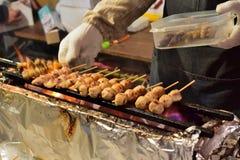 Yakitori或烤鸡 库存图片