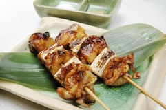 Yakitori. Two yakitori healthy delicious snacks Stock Image
