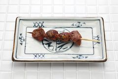 Yakitori, chicken gizzard royalty free stock photography
