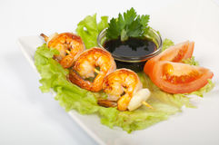 Yakitori com camarão Fotos de Stock Royalty Free