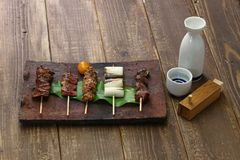 Yakitori, japanese grilled chicken skewers royalty free stock image