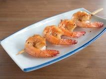 Yakitori: Japanese skewered prawns/ shrimps. Closeup of Yakitori: Japanese skewered prawns/ shrimps Stock Photos