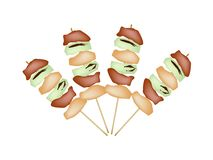 Yakitori Negima or Japanese Grilled Food on Skewers Stock Photography