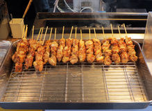 Yakitori on a tray. Skewers of yakitori on a tray waiting to be served Stock Photo